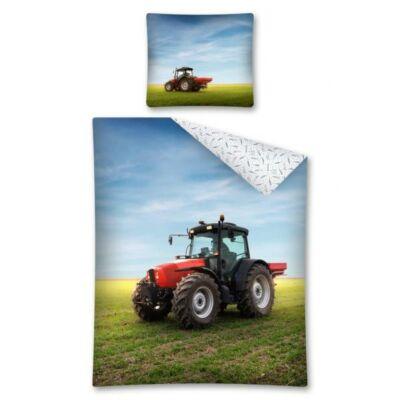 Traktor piros mintás ágynemű pamut
