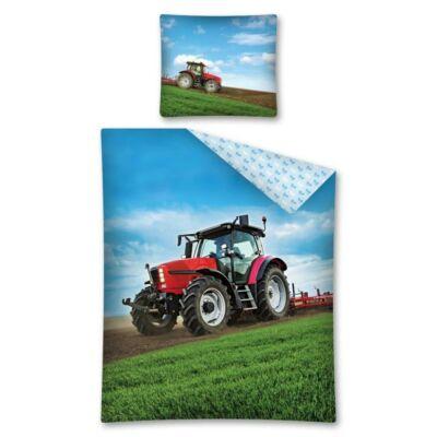 Traktor piros mintás ágyneműhuzat, cipzáras, pamut