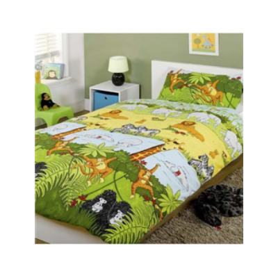 Dzsungel, ovis,gyerek ágyneműhuzat,kék pamut, dömper, markolós ágynemű