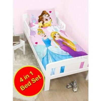hercegnők ovis rózsaszín ágyneműhuzat 4 részes szett junior