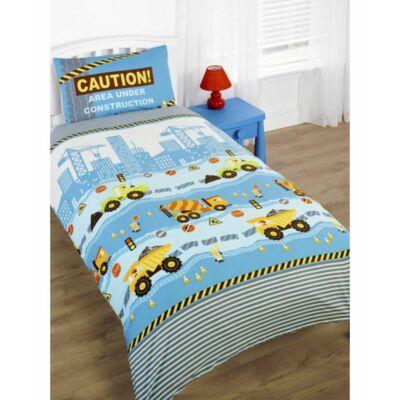 Teherautós, ovis,gyerek ágyneműhuzat,kék pamut, dömper, markolós ágynemű