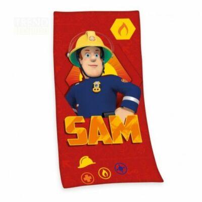 sam a tűzoltó fürdőlepedő pamut piros