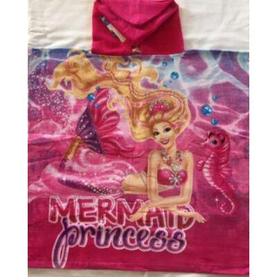 Barbie kapucnis poncsó, fürdőlepedő, pamut, rózsaszín