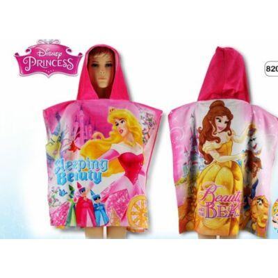 Hercegnők kapucnis poncsó, fürdőlepedő, pamut, rózsaszín