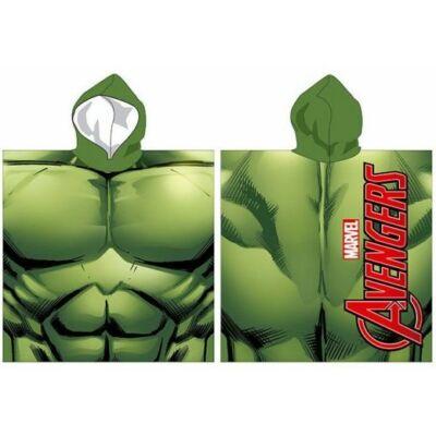 Hulk kapucnis poncsó, fürdőlepedő, zöld