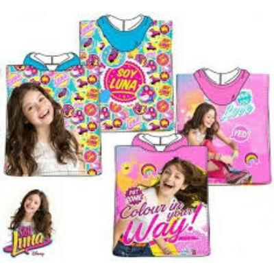 Soy Luna kapucnis poncsó, fürdőlepedő, pamut, rózsaszín