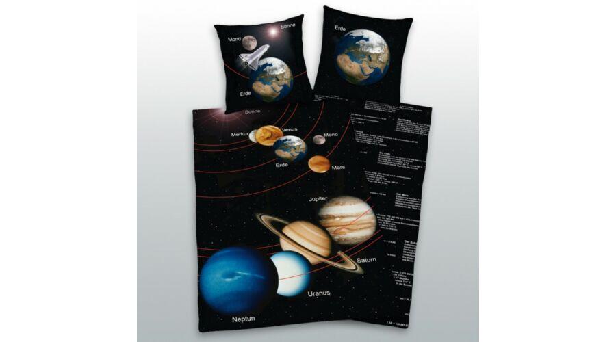 Bolygó ágyneműhuzat, 2 részes, pamut, kék